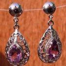Sterling Silver 92.5% Earrings Handmade Hook Amethyst gemstone Pear Jali (299)