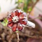 92.5% Sterling Silver Ring Gemstone cut Garnet size 6.25 flower design (150)