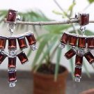 92.5% Sterling Silver Handmade Earring Gemstone Garnet Dangle 1.6x1.0 inch (62)