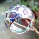 Sterling Silver 92.5% Ring Gemstone Amethyst size 5.9 Multi stones Royal (722)