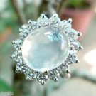 92.5 Sterling Silver Ring Gemstone Moonstone AD Cluster size 6 oval stone (332)