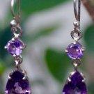 """Sterling Silver 92.5% Earrings purple Amethyst handmade 1.45x0.30"""" (236)"""