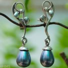 Sterling Silver 92.5% Earrings Grey Shell Pearl Handmade 1.40 x 0.30 inch (224)