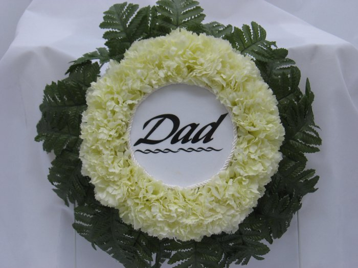 Pale yellow Cemetery/Grave Wreath/Flowers For Dad