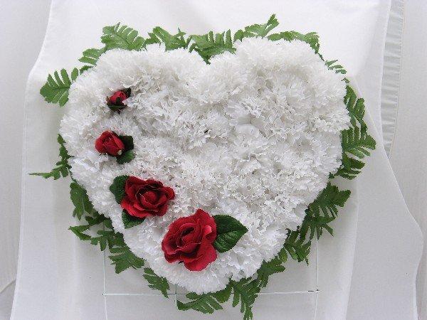Broken Heart Silk Cemetery/Grave Flowers - White
