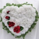 Broken Heart Silk Cemetery/Grave Flowers - White
