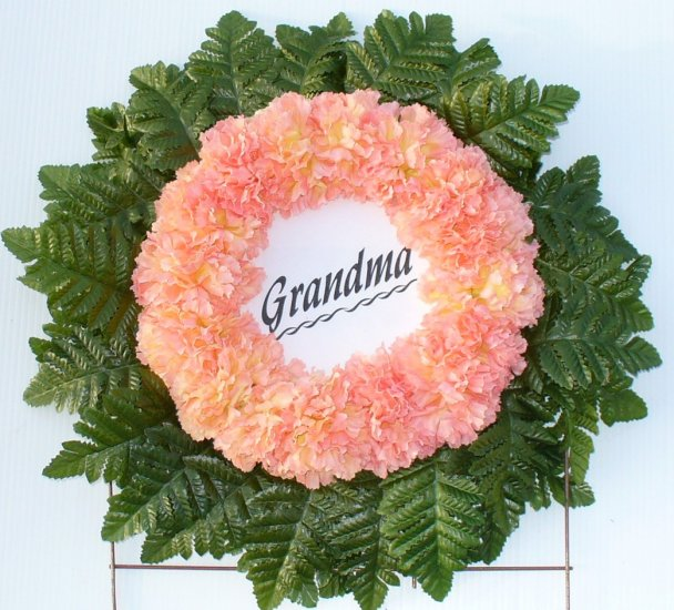 Peach-Tipped Yellow Silk Cemetery Flowers Grave Wreath for Grandma