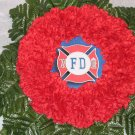 Red Cemetery Wreath for a Fireman