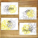 Yellow Gray Modern Floral Wall Art Pictures Prints Decor YOU are MY SUNSHINE Inspiration