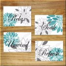 Teal Turquoise Gray Wall Art Bathroom Pictures Prints Decor Peony Dahlia Floral Burst Home