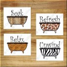 Leopard Zebra Safari Wall Art Pictures Prints Decor Bathroom Bath Tub Bathtub Quote Rules