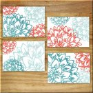 Teal Coral Aqua Turquoise Wall Art Pictures Prints Decor Peony Flower Floral Burst Dahlia