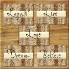 Leopard Cheetah Wall Art Pictures Prints Motivational Quote Love Laugh Live Dream Believe