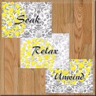 Yellow Gray Wall Art Bathroom Pictures Prints Floral Damask Decor Relax Soak Unwind Flower