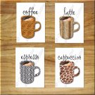 Kitchen Coffee Wall Art Cup Mug Decor Leopard Zebra Animal Pictures Prints Latte Espresso