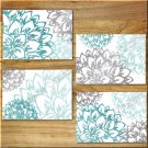 Teal Aqua/Turquoise Gray Wall Art Pictures Prints Decor Peony Flower Floral Home Dahlia