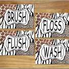 Leopard Zebra Giraffe Animal Pictures Prints Wall Art Bathroom Decor Safari BRUSH FLUSH +