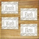 Chevron Pictures Prints Wall Art Bathroom Bath Word Decor Brush Flush Wash Floss Tan Beige
