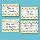 Yellow and Gray Chevron Zigzag Pictures Prints Wall Art YOU ARE MY SUNSHINE Nursery Decor