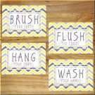 Yellow Gray Chevron Bathroom Bath Rules Wall Art Pictures Prints Decor Hang Wash Floss +