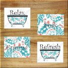 Coral Teal Floral Paisley Wall Art Pictures Prints Decor Bathroom Bath Tub Bathtub Rules