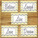 Yellow Gray Chevron Pictures Prints Wall Art Decor Inspirational  Love LAUGH Believe DREAM