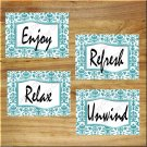 Teal Aqua Bathroom Wall Art Pictures Prints Decor Damask Quotes Relax Unwind Enjoy Refresh