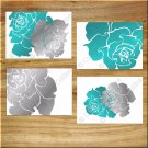 Teal Gray Modern Rose Peony Wall Art Pictures Prints Decor Flower Bathroom Bedroom Floral