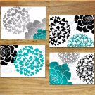 Black Teal Gray White Wall Art Pictures Prints Home Decor Flower Floral BURST Dahlia Rose