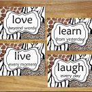 Leopard Zebra Giraffe Animal Pictures Prints Wall Art Decor Safari LIVE LOVE LAUGH LEARN