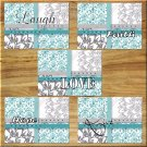 Teal Aqua Gray Floral Wall Art Pictures Prints Quotes Flower Damask Faith Hope Love Laugh