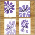 Purple Bathroom Wall Art Bath Pictures Prints Floral Daisy Flower Quote Soak Relax Unwind