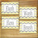 Yellow and Gray Chevron Zigzag Pictures Prints Wall Art Bathroom Bath Decor Floss Flush +