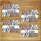 Leopard Zebra Giraffe Safari Wall Art Pictures Prints Inspirational Quote Sing Dance Love