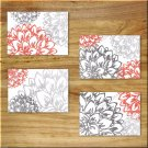 Gray and Coral Wall Art Pictures Prints Home Decor Bathroom Bedroom Kitchen Floral Flower
