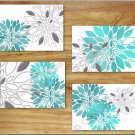 Teal Turquoise Gray Wall Art Pictures Prints Decor Floral Flower Dahlia Kitchen Bathroom+