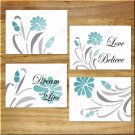 Teal Gray Aqua Floral Wall Art Pictures Prints Flower Decor Motivational Words Quote LOVE