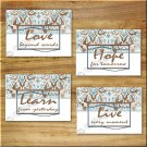 Blue Brown Elegant Damask Wall Art Pictures Prints Quotes Learn Live Love Hope Bathroom +