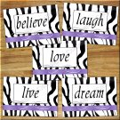 Zebra Wall Art Pictures Prints Purple Decor Quote Love Laugh Live Dream Motivational Home