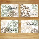 Brown Green Beige Bathroom Bath Wall Art Pictures Prints Decor Floral Flower Words Quote