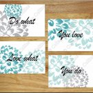 Teal Aqua Gray Wall Art Pictures Prints Decor Peony Burst Flower Floral LOVE WHAT YOU DO