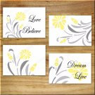 Yellow Gray Floral Wall Art Pictures Prints Bathroom Kitchen Home Decor Quotes Live Love+