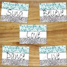 Teal Aqua Gray Leopard Cheetah Pictures Prints Wall Art Decor DANCE SING LOVE LIVE BELIEVE