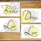 YELLOW & GRAY Wall Art Pictures Prints Decor Floral Flower QUOTES Live Love Dream Nursery
