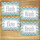 GRAY and TEAL Chevron Zigzag Pictures Prints Wall Art BATHROOM Bath Decor Floss Flush Wash