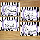 PURPLE ZEBRA Bathroom Bath Home Decor Wall Art Pictures Prints UNWIND SOAK RELAX REFRESH