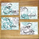 Teal Turquoise Aqua Gray Wall Art Bathroom Bath Pictures Prints Decor Dahlia Floral Burst