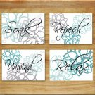 Teal Aqua Gray Wall Word Art Bathroom Bath Pictures Prints Decor Dahlia Floral Flower Home