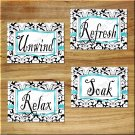 Teal Aqua/Turquoise Wall Art Pictures Prints Decor Black White DAMASK Bathroom Soak Relax