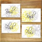 YELLOW and GRAY Wall Art Bathroom Flower Floral Pictures Prints Decor WASH BRUSH FLUSH +